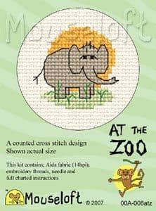 Mouseloft Elephant At The Zoo cross stitch kit